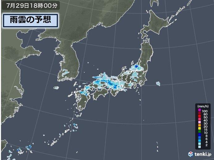 中国地方には局地的に発達した雨雲