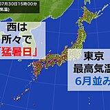 梅雨明けした所は「猛烈な暑さ」体温並みも 東京は6月並み