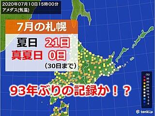 約1世紀ぶりの珍事? 札幌で夏日多くて真夏日なし