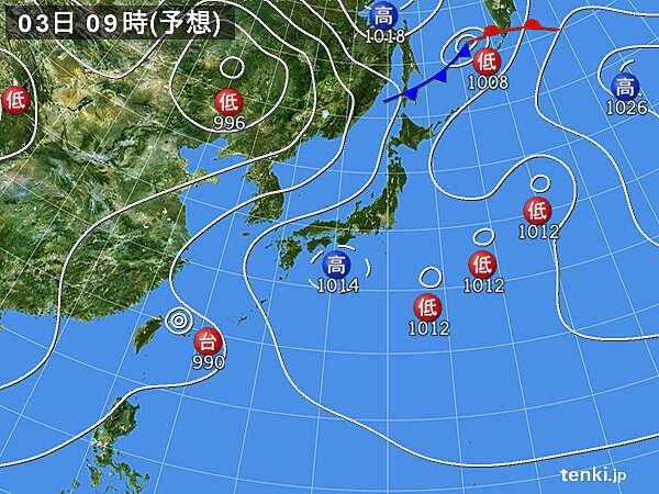 3日(月)~5日(水) 九州~関東を中心に夏空