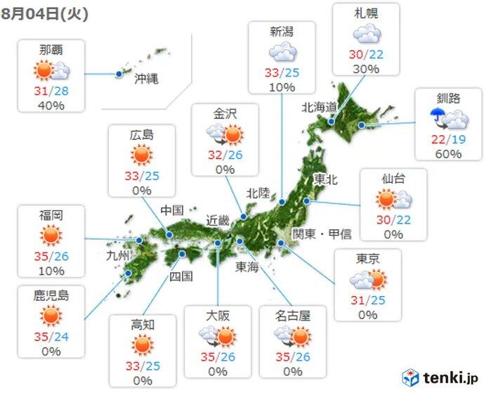 北海道は午前を中心に雨 本州は昼過ぎから所々で雨や雷雨