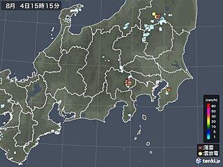 関東周辺で雨雲発生 山沿いを中心に夜まで雷雨に注意