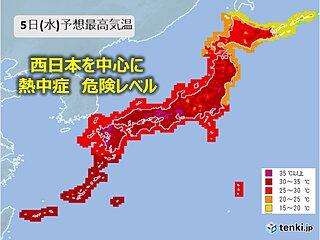 あすも各地で猛暑日続出 熱中症の危険度が高まる