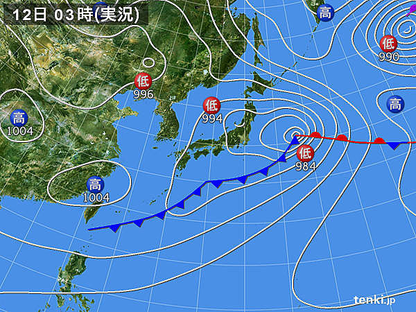 12日 北・東は大気不安定 西は天気回復