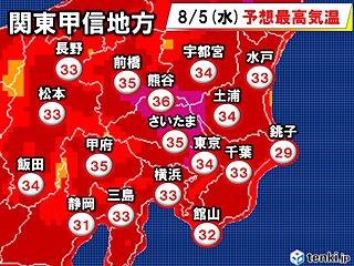5日 関東甲信 今年一番の暑さ 熱中症厳重警戒