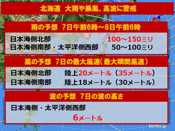 北海道 7日にかけて大雨や暴風、高波に警戒