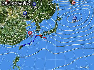 8日の天気 太平洋側は激しい雨