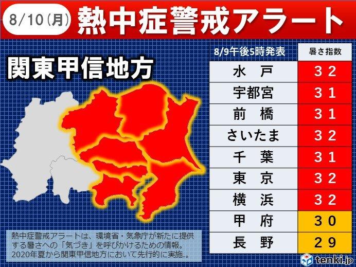 10日 山の日 関東地方に「熱中症警戒アラート」発表