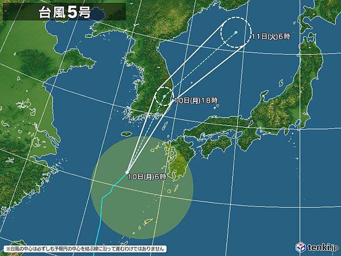 台風5号 九州北部に接近へ 九州~近畿に発達した雨雲かかる
