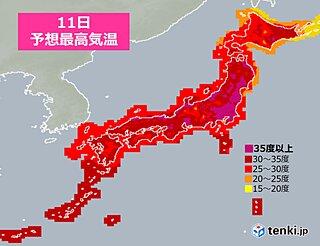 あすも広範囲で猛烈な暑さ 40度に迫る所も 熱中症警戒 北海道は荒天