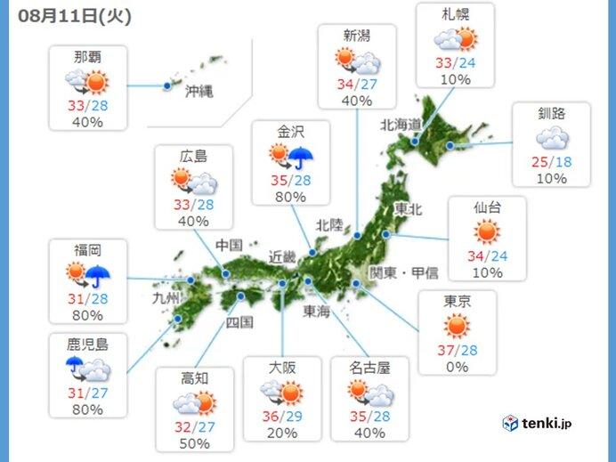 11日 日本列島危険な暑さ 北海道や四国九州では大雨に警戒