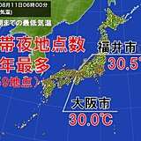 朝から厳しい暑さ 熱帯夜地点数359地点 今年最多 日中も熱中症要警戒