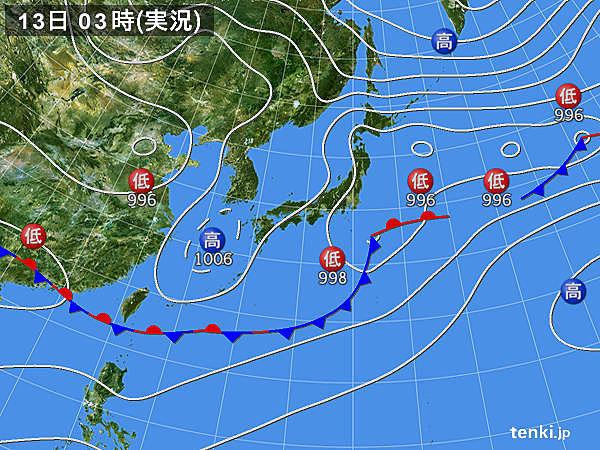 13日 北は雨 東・西は晴れ間広がる