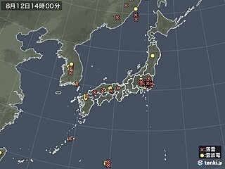 九州北部~関東 あちらこちらでカミナリ雲 晴れていても天気急変に注意