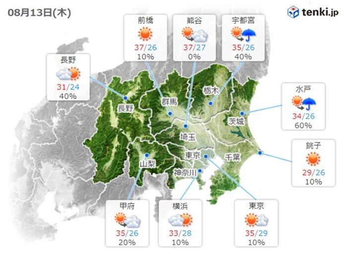 きょうも暑くなります 関東平野 急な雨や雷雨も