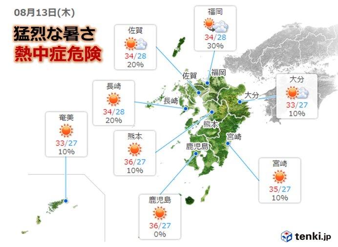 九州 お盆は猛烈な暑さ 最高気温37度超えも
