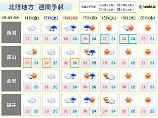 北陸 お盆期間 土曜にかけて再び猛暑 後半はにわか雨も