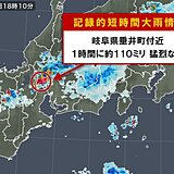 岐阜県で約110ミリ 記録的短時間大雨情報