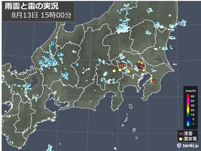関東南部 所々に雨雲 落雷も多数観測