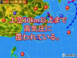 10km以上の高さまで高気圧で覆われている