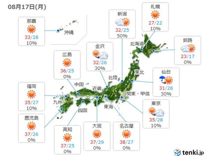 九州から関東 広く猛暑日に
