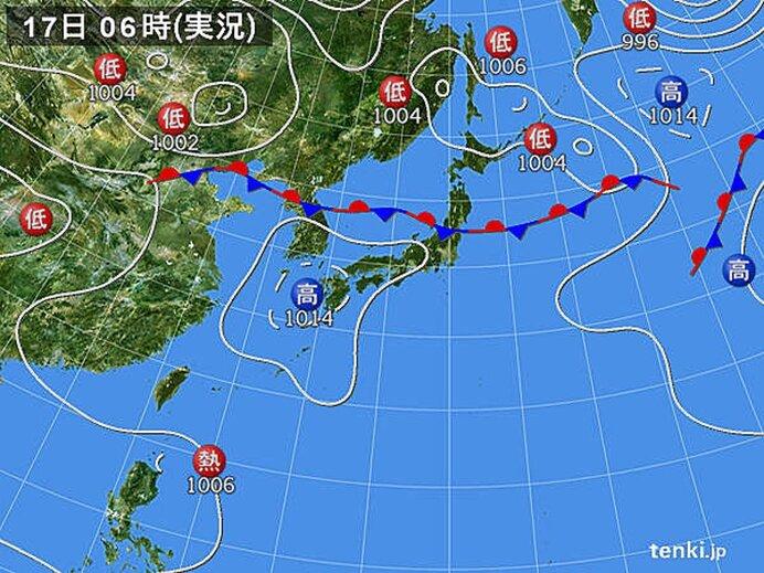 17日、内陸部は最高気温38度予想