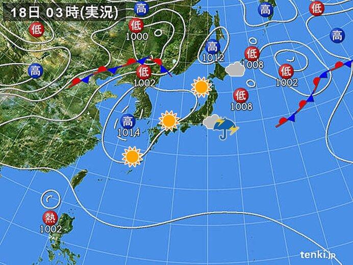 きょうの天気 西ほど晴天 関東周辺は午後に雨や雷雨
