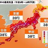 20日 猛暑日地点最多か 午後は天気急変 東海や関東甲信などで激しい雨