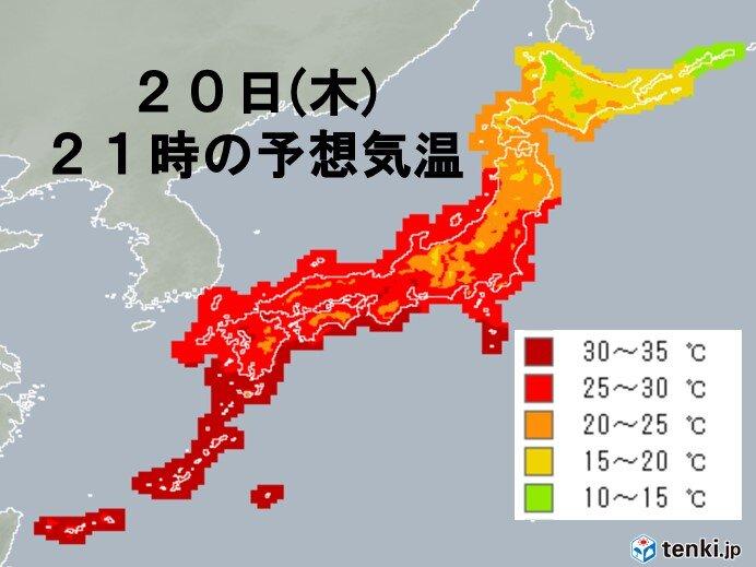 九州~関東を中心に夜も熱中症に注意 北海道は道北を中心にヒンヤリ
