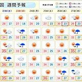 週間 厳しい残暑 関東以西はたびたび雨雲発達 激しい雨も