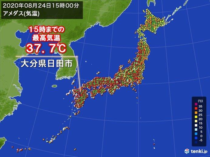 九州で37℃台の厳しい残暑 今後2週間程度も気温の高い状態が続く予想