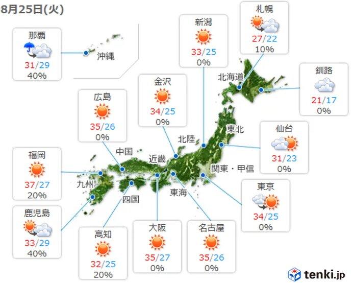 25日 各地の天気