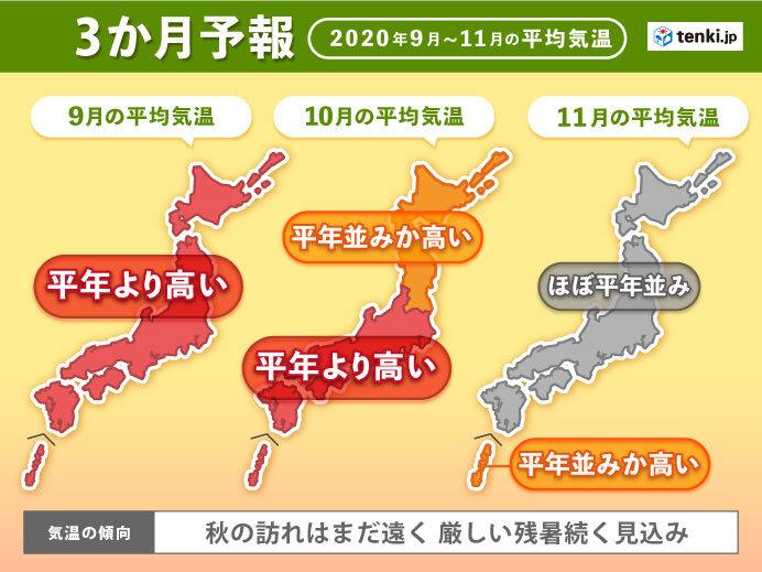 秋の訪れ遠く残暑続く見込み 3か月予報