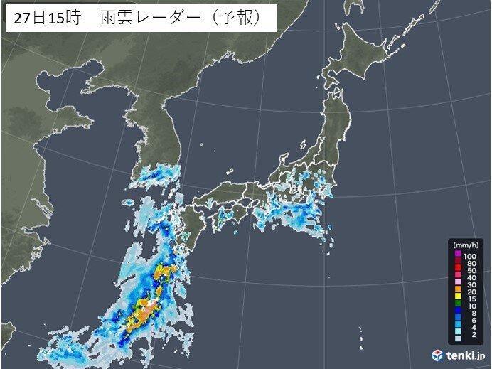 局地的に激しい雨や雷雨に