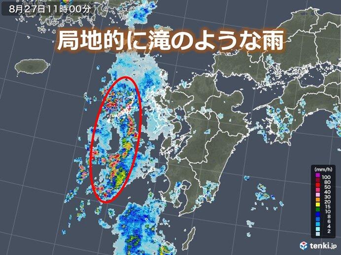 九州 台風8号の影響続く 長崎県は局地的に滝のような雨