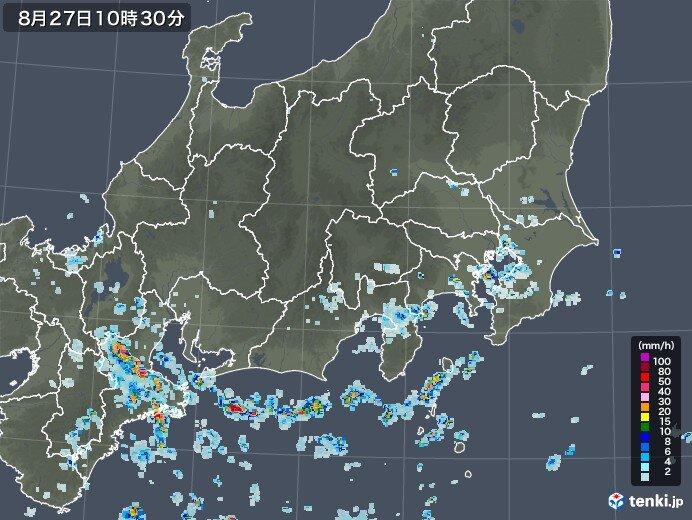 所々で雨雲が発達
