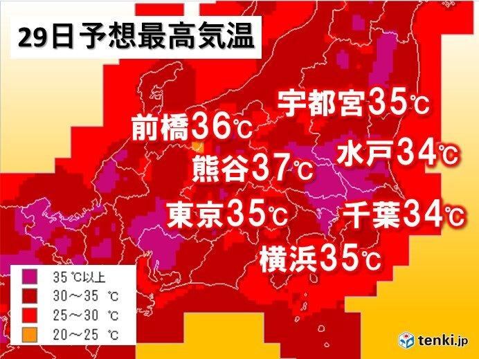 関東 8月最後の土日 都心など35度予想 猛烈な暑さ収まらず