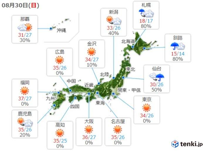 30日、日曜日の天気
