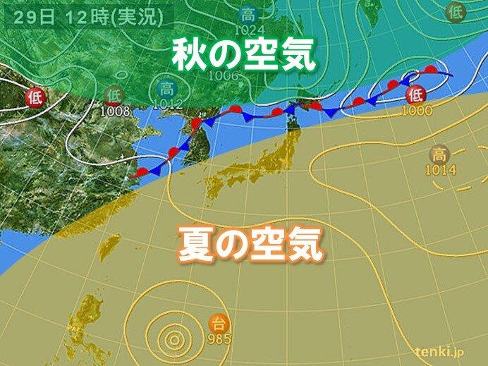 九州~東北南部35℃以上の猛暑日 北海道には季節を分ける前線停滞
