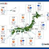 今日30日の天気 天気急変 滝のような雨も 北海道は気温10度もダウン