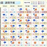 週間 沖縄、西日本は台風接近で大荒れに 体温並みの暑さにも警戒
