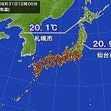 8月最終日 北日本は秋の空気 仙台の正午の気温20.9℃ 9月下旬並み
