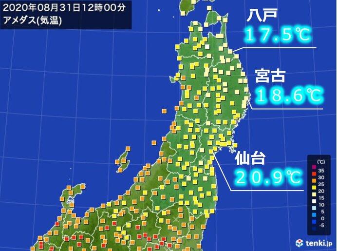 東北は気温が乱高下 31日正午は三陸沿岸10度台 週後半は真夏日も