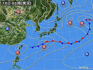 15日 太平洋側で梅雨空 空気ひんやり