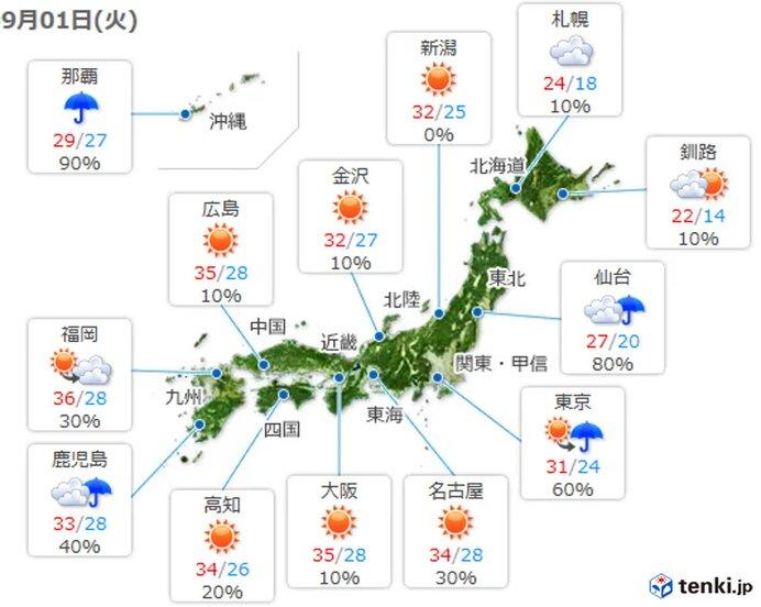 西日本から北日本 日本海側を中心に晴れ 九州では早めの台風対策を