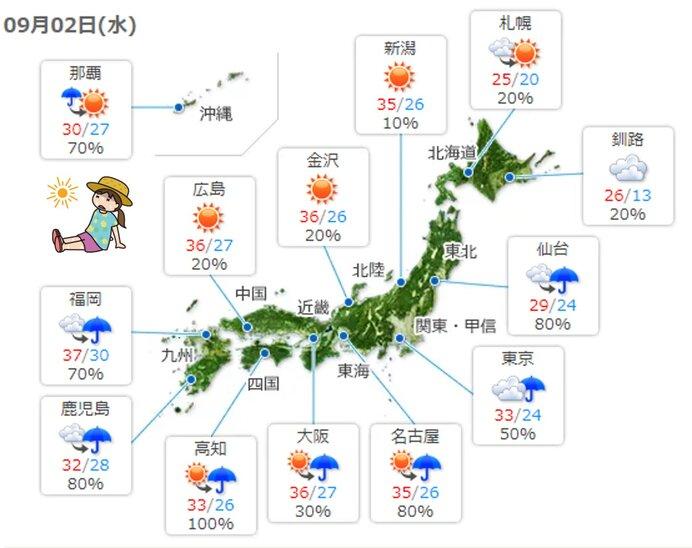 2日 本州付近は大気の状態が不安定