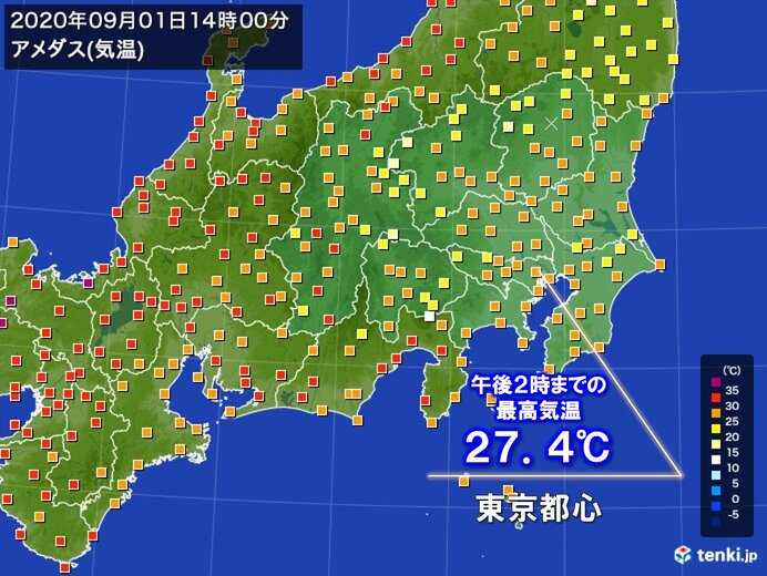 関東 暑さ和らぐ 東京都心は9日ぶりに30℃届かず