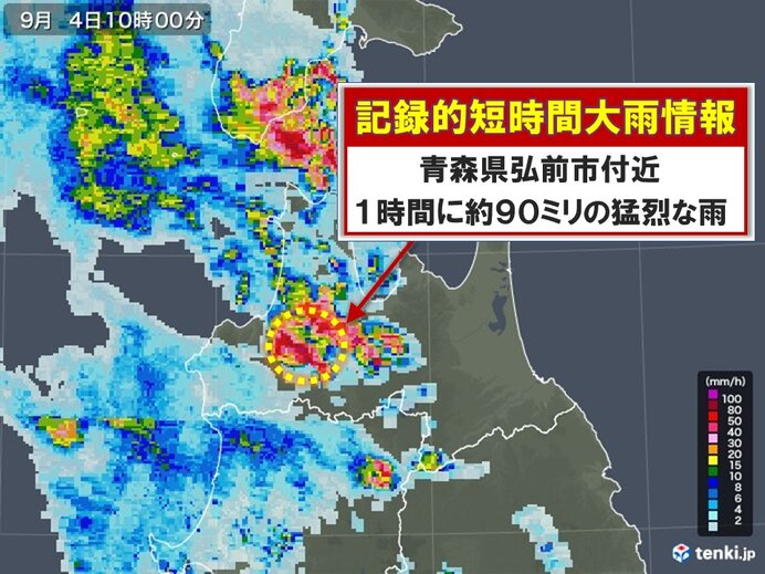 青森県で約90ミリ 記録的短時間大雨情報
