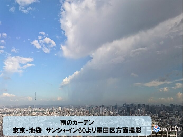 都心に雨雲、カミナリ雲接近中