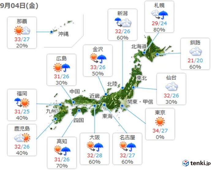 今朝 東北日本海側で猛烈な雨 晴れている所も急な雨に注意 関東周辺は猛暑